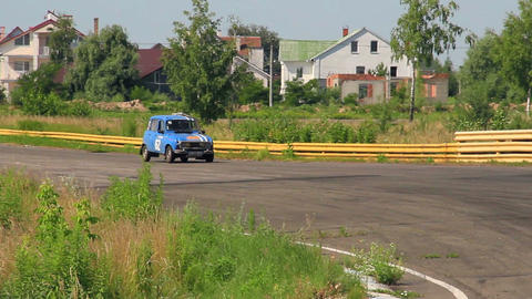 Classic French Renault 4 in sport car racing Live Action