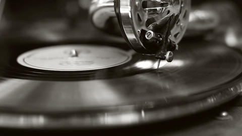 Black and white old movie retro gramophone. Vintage turntable big needle, vinyl Footage