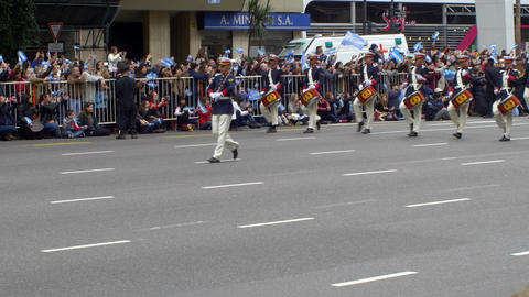 Argentina marching band in Argentina Bicentennial independence day celebrations Footage