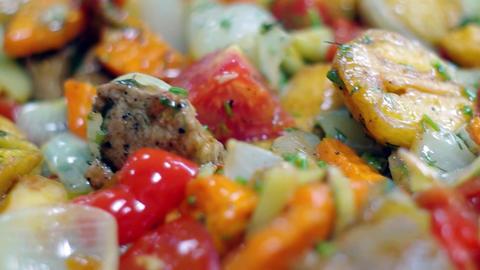 Stewed meat with vegetables Footage