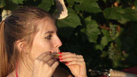 Girl eats melon and talking 2 Footage