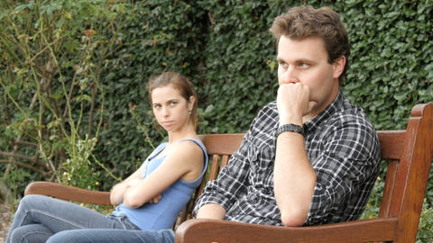 Unhappy upset couple are fighting and having relationship difficulties Footage