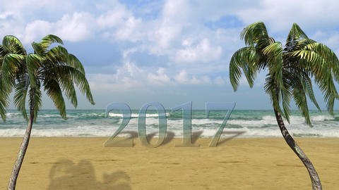 Happy New Year,Christmas,3d Palm, Beach, Travel ,background 2017 Animation