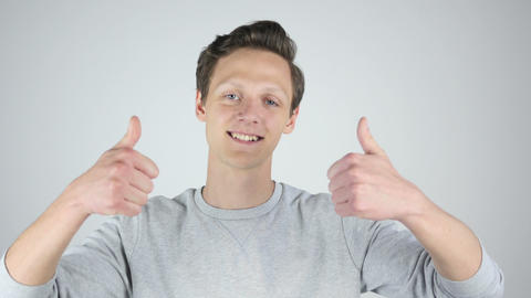 Both Hands Thumbs Up by Young Man, Success, Isolated Footage