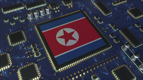 Flag of Norht Korea on the operating chipset. Information technology or hardware Live Action
