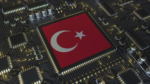 Flag of Turkey on the operating chipset. Turkish information technology or Live Action
