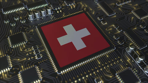 Flag of Switzerland on the operating chipset. Swiss information technology or Live Action