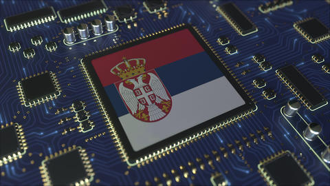 National flag of Serbia on the operating chipset. Serbian information technology Live Action