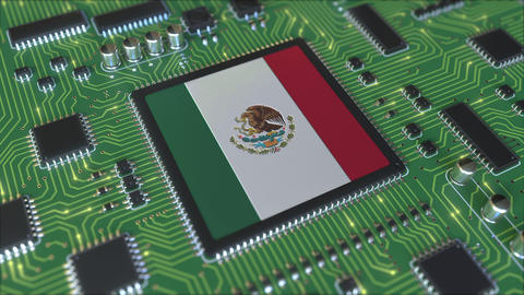 National flag of Mexico on the operating chipset. Mexican information technology Live Action