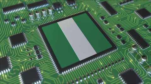 Flag of Nigeria on the operating chipset. Nigerian information technology or Live Action