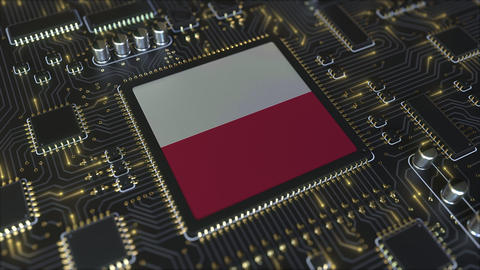 National flag of Poland on the operating chipset. Polish information technology Live Action