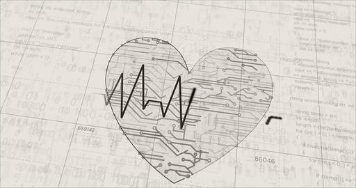 Cyber heart futuristic sketch Animation