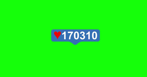 Pink Like Icon On Green Chroma Key Background. Tap Like Button Animated 4K. 3D Animation