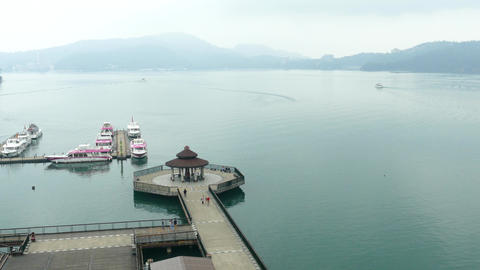 SUN MOON LAKE, TAIWAN - OCTOBER 26, 2019: Pier at Sun Moon Lake, the largest Live Action