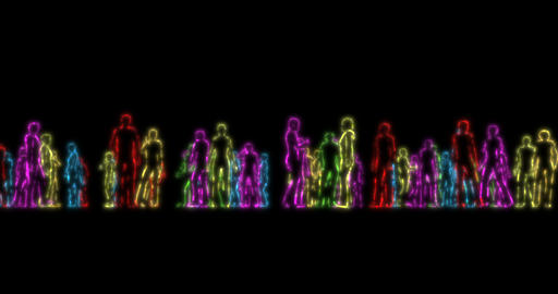 Realistic crowd of people in neon lights. lgbt pride crowd neon. Rainbow love Live Action