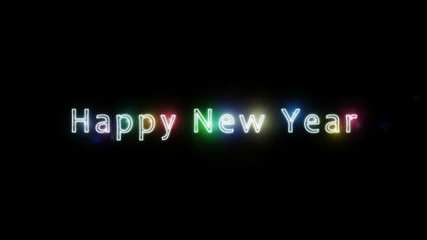 Happy New Year Greeting Text With Light Stroke and Lens Flares Animation