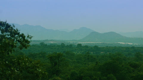 Aerial view of tropical forest, mountain ranges and hills covered by evergreen rain forest Live Action