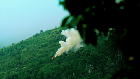 Fire in mountain forest. View forest fire and smoke, wild fire in mountains Live Action