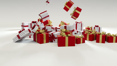 Red and White Chritmas Gift Falling on the ground Animation