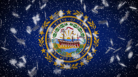 New Hampshire flag falling snow, New Year and Christmas background, loop Animation