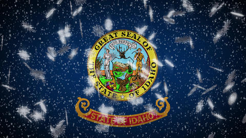 Idaho flag falling snow, New Year and Christmas background, loop Animation