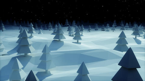Christmas Background snowy landscape dark blue night forest low poly Animation