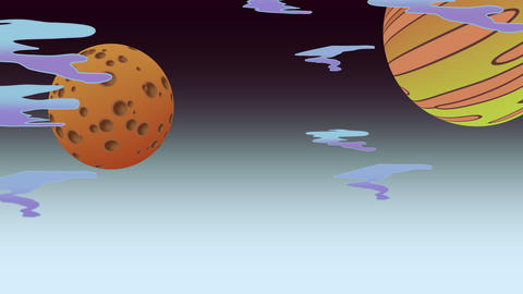 Cartoon animation background with moon and planet in space, abstract backdrop Animation