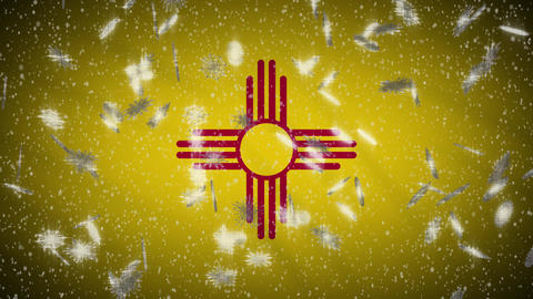 New Mexico flag falling snow, New Year and Christmas background, loop Animation