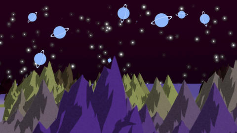 Cartoon animation background with planets and mountains in space, abstract backdrop Animation