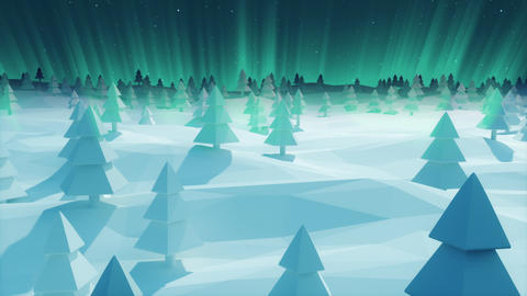 Christmas Background snowy landscape bright blue ray forest low poly Animation