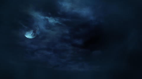 Mystical animation halloween background with dark moon and clouds. Holiday abstract backdrop Animation