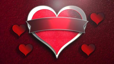 Animation closeup motion romantic heart on Valentine's day shiny background Animation