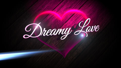 Animated closeup Dreamy Love text and motion romantic heart on Valentine's day shiny background Animation