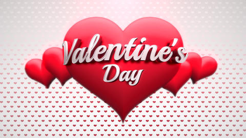 Animated closeup Valentine's Day text and motion romantic heart on love shiny background 애니메이션