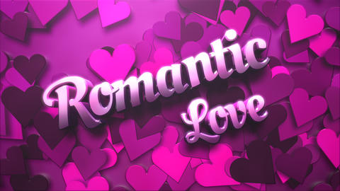 Animated closeup Romantic Love text and motion romantic heart on Valentine's day shiny background Animation