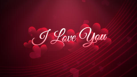 Animated closeup I Love you text and motion romantic heart on Valentine's day shiny background Animation