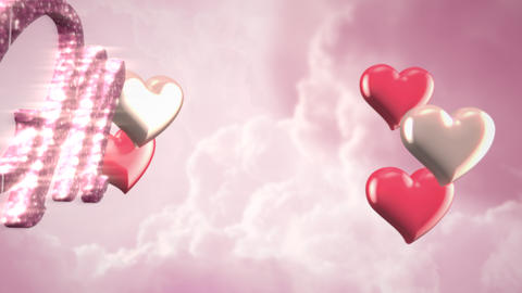 Animated closeup Miss You text and motion romantic heart on Valentine's day shiny background Animation