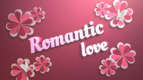 Animated closeup Romantic Love text and motion romantic flowers on Valentine's day shiny Animation
