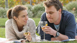 Romantic young couple in park drink wine celebrating marriage engagement Footage