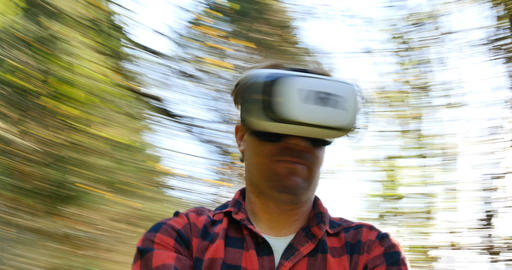 Conceptual shot man wearing virtual reality goggles in the 360 VR world Footage