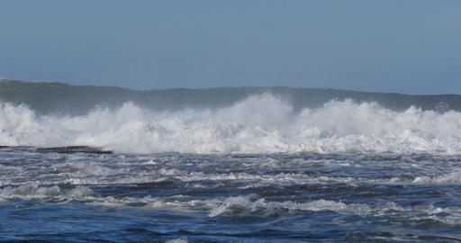 Crashing Waves storm sea swells with white wash waves Live Action
