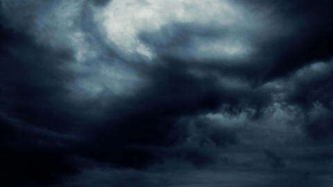 dramatic darken blue clouds fly by Footage