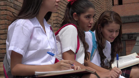 Teen Female Students Studying Footage