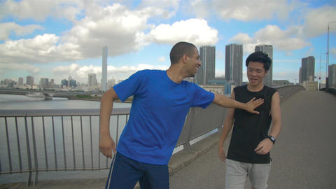 International and Japanese friends Race on Tokyo Bridge Running slow motion Live Action