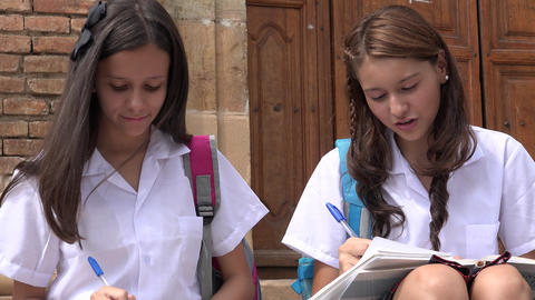 Catholic School Girls Writing Footage
