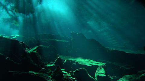 Sunlight illuminates an underwater lair near mexico Footage