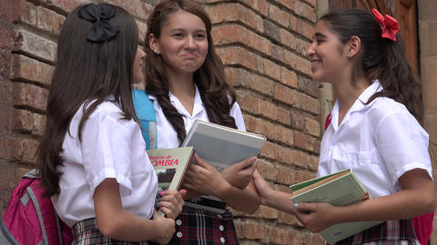 Female Students With Books Footage