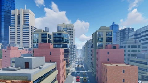 Abstract modern city at daytime time lapse 3D animation Footage