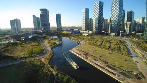 Incheon songdo central park 인천 송도 센트럴파크 드론영상 ภาพวิดีโอ