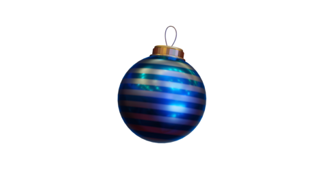 Isolated Blue Stripey Christmas Bauble Animation